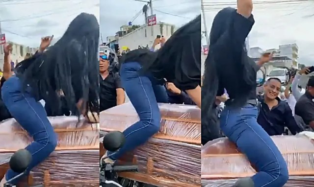 Woman twerks on top of coffin at a Funeral