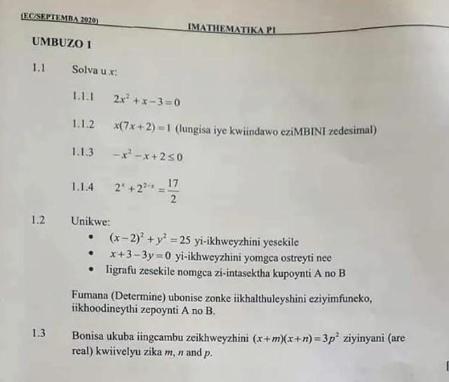 Xhosa maths paper