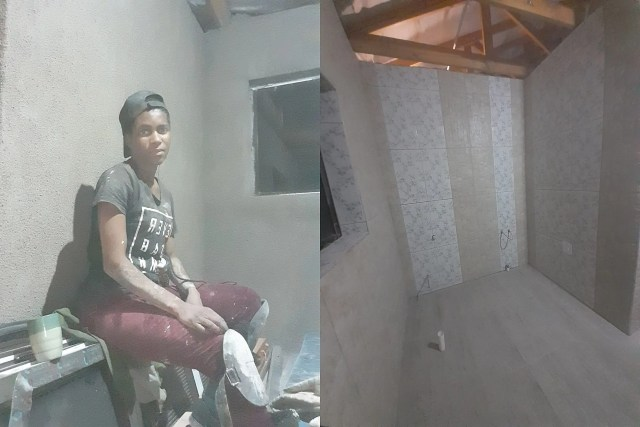 Young woman who is a tiler inspires Social Media after showing off her work