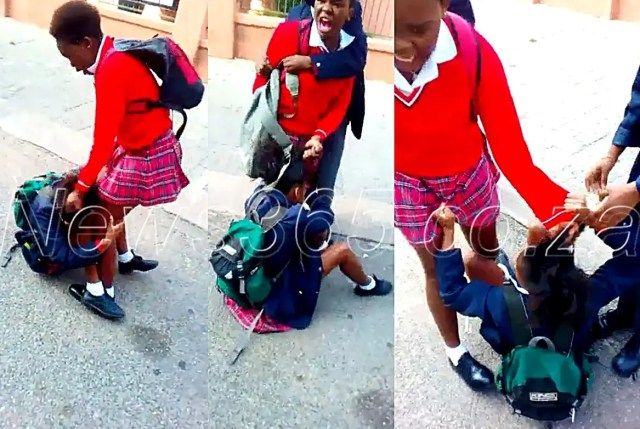 Grade 9 girl heavily beats and drags another female pupil by her hair