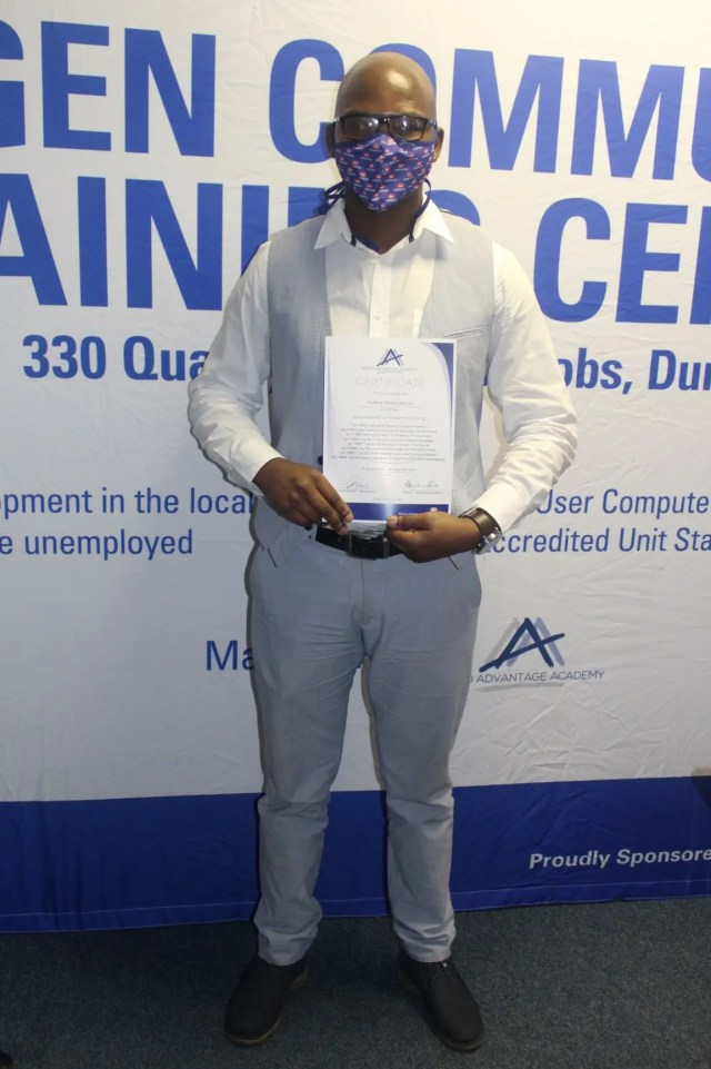 Top achiver Godfrey Sandile Mkhize graduated from the Engen Computer School