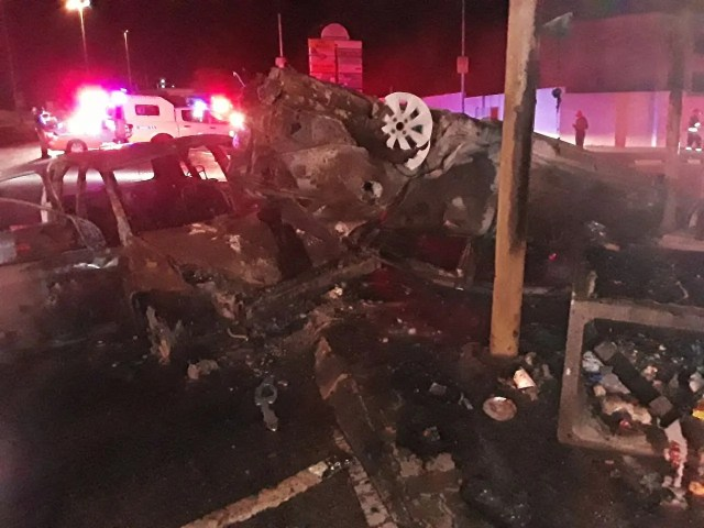 Vehicle burst into flames following collision