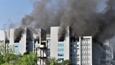 Smoke rises after a fire broke out at India's Serum Institute in Pune