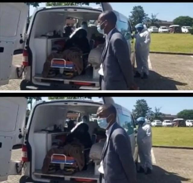 Touching video of KZN MEC Bheki Ntuli's wife attending his funeral in Ambulance