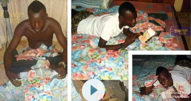 young man vomiting money