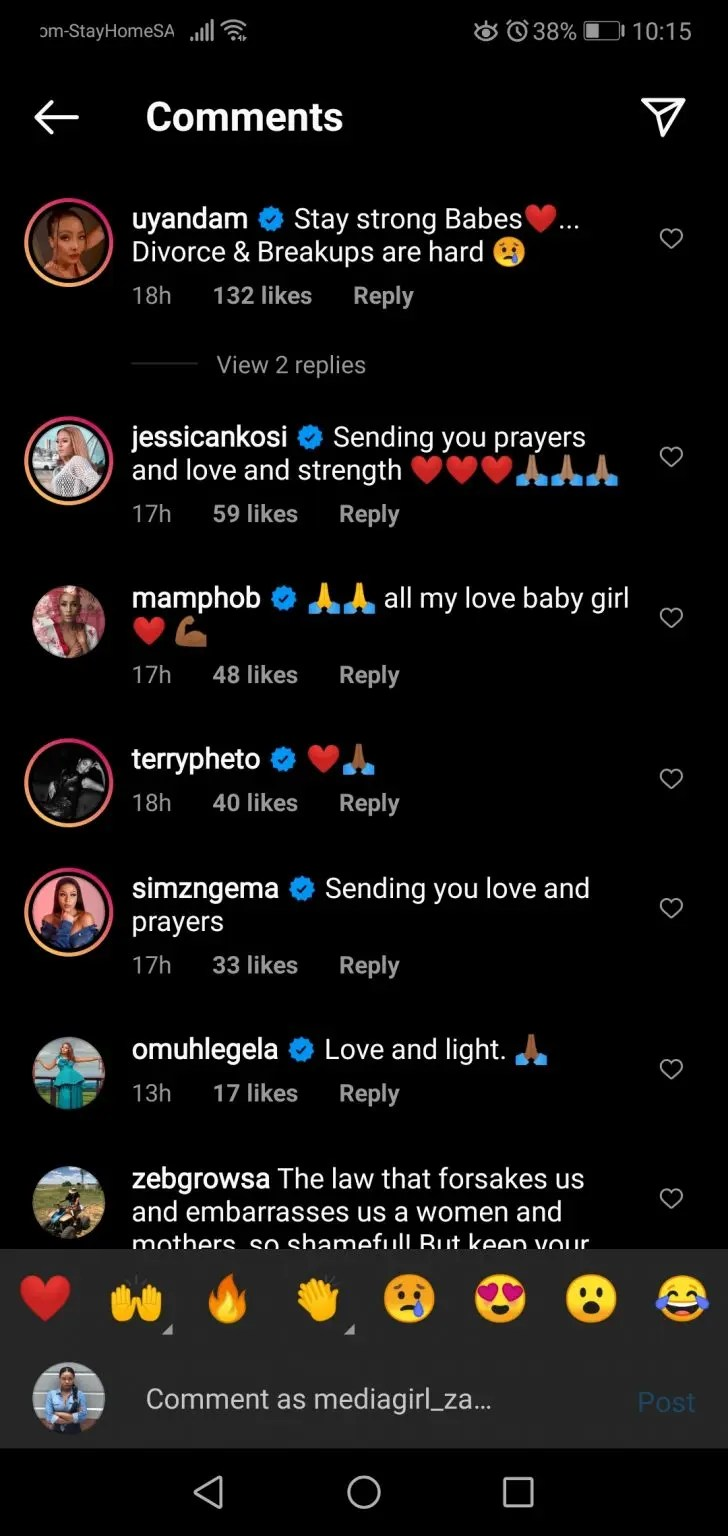 Messages of support for Zinhle Mabena