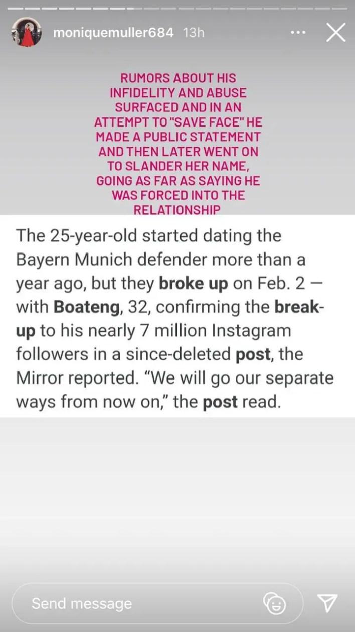 Monique Muller Instagram story