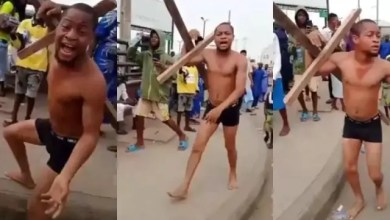 I don't want to die again - Drama as African Jesus runs away with cross as he is beaten during Easter