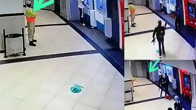 Security Guard hides from heavily armed robbers at ATM