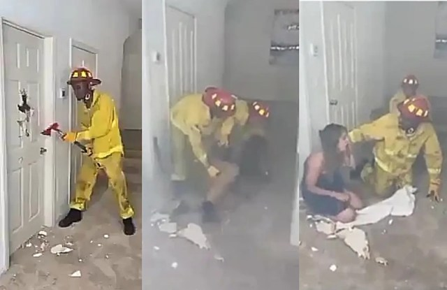 Drama as firefighter rescues a couple from hotel room and woman turns out to be his wife