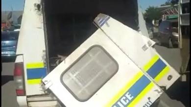 Police van with a broken door embarrasses South Africa