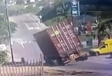 Truck crashes on a curve
