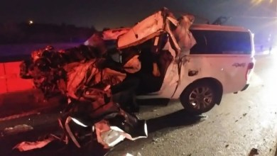 Bakkie driver escapes injury after slamming into back of truck