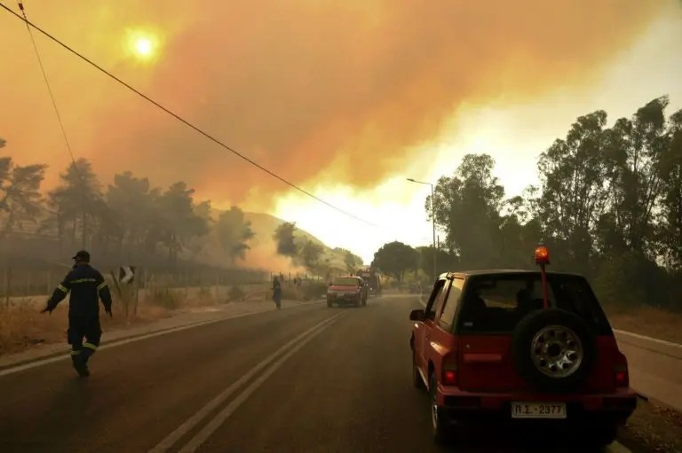 Firefighters battle to extinguish forest blaze in Greece
