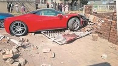 R3 million red Ferrari crashes into gogo's yard in Ekurhuleni