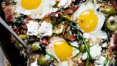 Baked Eggs with Swiss Chard and Green Olives