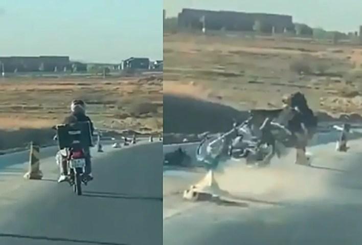 Drunk motorbike driver crashes