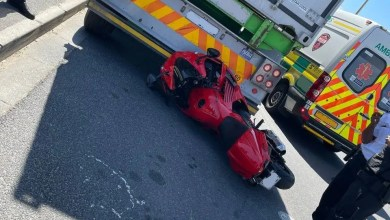 Motorcyclist injured in collision with truck