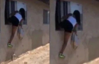 Video: Sidechick caught fleeing the scene through a window