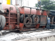 Tanker carrying 55000 litres of petrol fell over and killed a woman