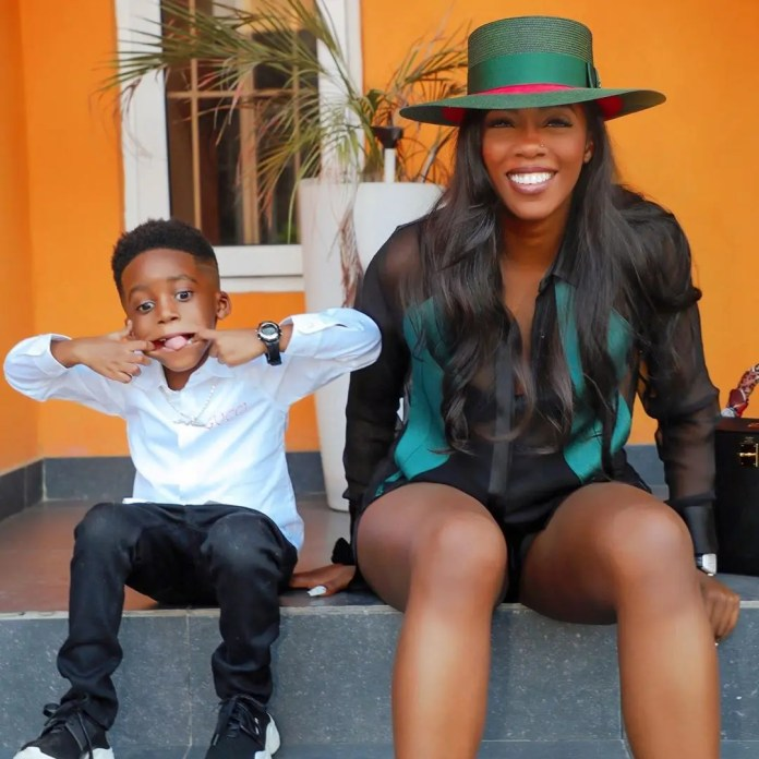 Cute picture of Tiwa Savage and her son Jamil