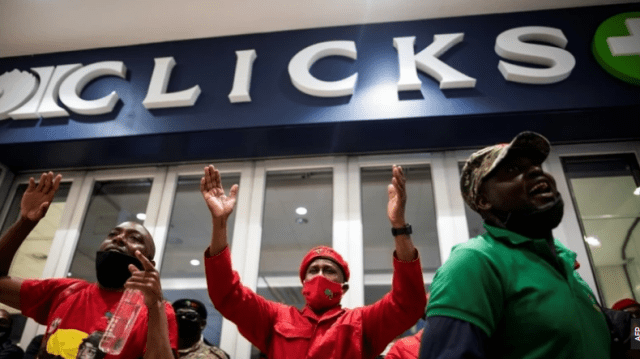 South Africa's EFF pickets at top stores over 'racist' ads