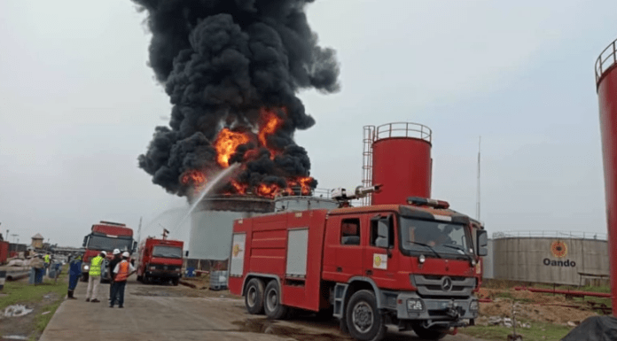 Tank farm consumed by fire in Lagos