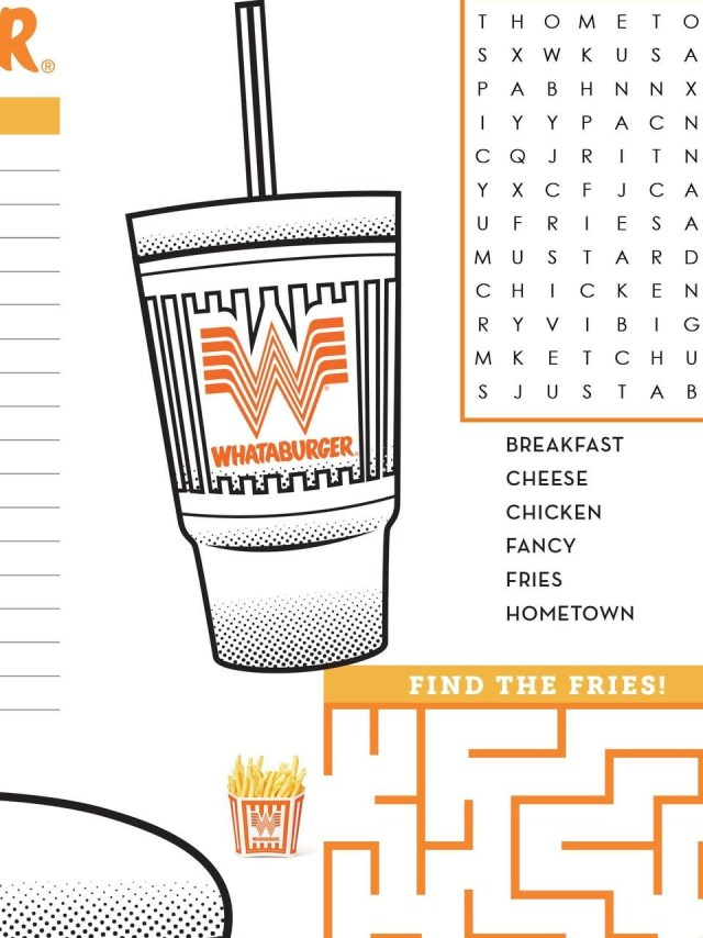 Whataburger releases at-home activities to beat boredom during