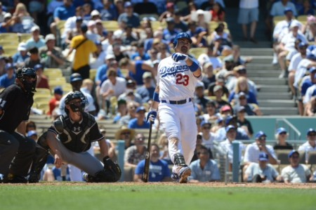 Adrian Gonzales gives the Los Angeles Dodgers a boost with a three-run home run against the Miami  Marlins Sunday, August 26, 2012 at Dodger Stadium in Los Angeles. Photo by Jon SooHoo/©Los Angeles Dodgers,LLC 2012