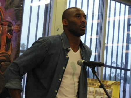 """Kobe Bryant speaks to the media about the homeless situation in Los Angeles at """"My Friend's Place,"""" a haven for young people living on the streets. Bryant, along with wife, Vanessa, have partnered with """"My Friend's Place,"""" through the Kobe Bryant and Vanessa Bryant Family Foundation, to tackle the homeless youth problem. Photo: Dennis J. Freeman"""