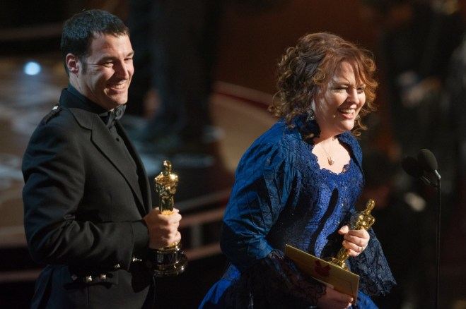 """Mark Andrews and Brenda Chapman accept the Oscar® for best animated feature film of the year for work on """"Brave"""" during the live ABC Telecast of The Oscars® from the Dolby® Theatre in Hollywood, CA, Sunday, February 24, 2013. Photo Credit: credit: Darren Decker / ©A.M.P.A.S."""