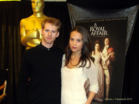"Alicia Vikander and Cyron Melville, stars of  ""A Royal Affair,"" which has been nominated for an Academy Award. Photo Credit: Dennis J. Freeman"