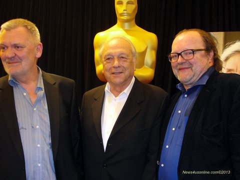 Amour producers Michael Katz, Stefan Arndt and Veit Heiduschka. Amour won the Academy Award for best foreign film. Photo Credit: Dennis J. Freeman