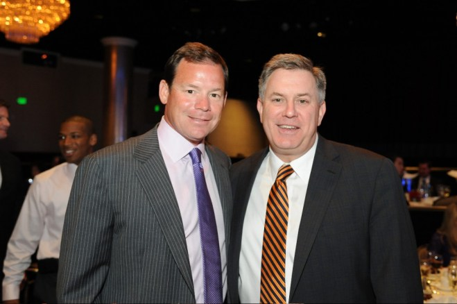 UCLA head football coach Jim Mora Jr. and  AEG President & CEO Tim Leiweke attend the 8th Annual L.A. Sports Awards. Photo courtesy of L.A. Sports Council