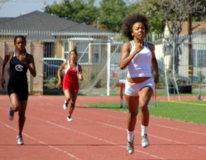 Dierra Haven, a senior at Carson High School runs away from the field in the 400 meters.