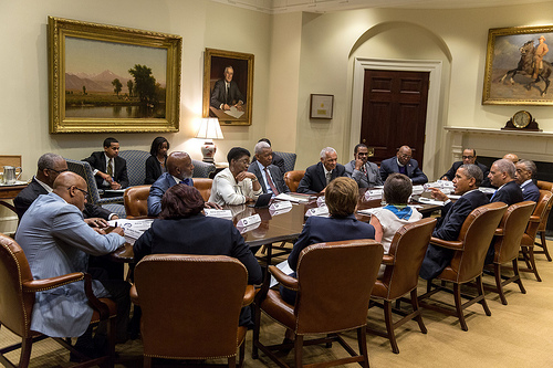 President Barack Obama meets with faith leaders to discuss the Anniversary of the March on Washington and how civil rights and equality are closely tied to voting rights and closing the gap on education, unemployment, and access to health care, in the Roosevelt Room of the White House, Aug. 26, 2013. (Official White House Photo by Pete Souza)