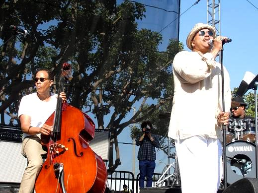 "Stanley Clarke and Howard Hewett collaborate on ""Sweet Baby"" at the Long Beach Jazz Festival. Photo Credit: Dennis J. Freeman"