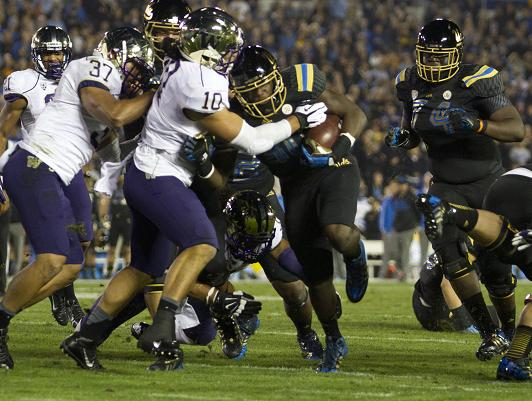 Linebacker/running back Myles Jack gives the UCLA Bruins a dual threat . Jack scored four touchdowns against the Washington Huskies in a Pac-12 matchup at the Rose Bowl. Photo Credit: Jevone Moore/Full Image 360