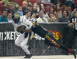 Sabercats WR Rod Harper who had 4 touchdown night breaking away. Photo Credit: Jordon Kelly / News4usonline.com