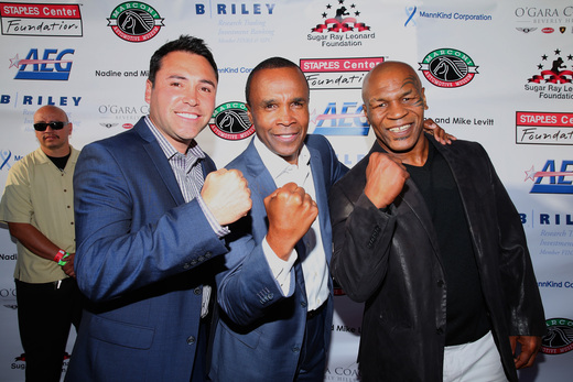 Oscar De La Hoya, Sugar Ray Leonard and Mike Tyson on the red carpet of the 5th Annual Foundation's 5th Annual 'Big Fighters, Big Cause' Charity Boxing Night. Photo Credit: Mark Davis/Gatty Images