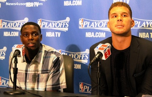 Darren Collison and Blake Griffin combined to score 22 of the team's 38 points in the fourth of Game 4 against the Oklahoma City Thunder. The Los Angeles Clippers won 101-99. Photo Credit: Dennis J. Freeman/News4usonline.com