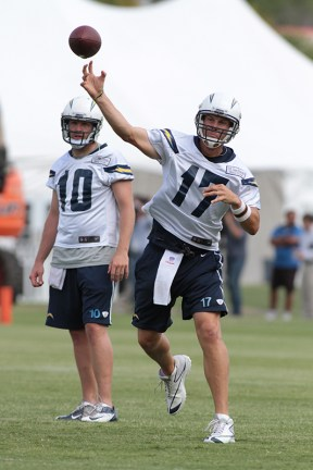 Quarterback Philip Rivers goes through his progression during training camp on Friday, July 25.