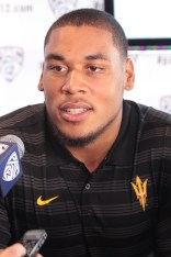 ASU Offensive Line Jamil Douglas on podium for questions. Photo by Jevone Moore / News4usonline.com