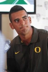 Oregon Duck Quarterback Marcus Mariota on back podium. Photo by Jevone Moore / News4usonline.com