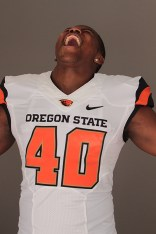 Oregon State Linebacker Michael Doctor showing us his war cry after a sack for the camera. Photo by Jevone Moore / News4usonline.com