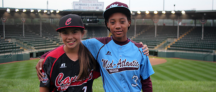 Emma March, South Vancouver Little League, Vancouver, British Columbia, and Mo'ne Davis, Taney Youth Baseball Association Little League, Philadelphia, Pa., are the 17th and 18th girls to play in the Little League World Series. Photo Credit: Little League Baseball World Series