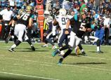 Jacksonville Jaguars rookie quarterback Blake Bortles on the run. Photo Credit: Dennis J. Freeman/News4usonline.com