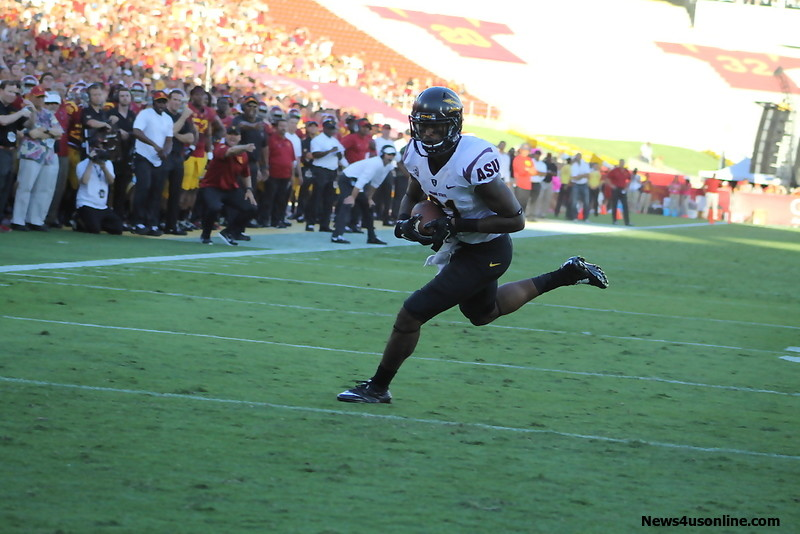 Arizona State wide receiver Jaelen Strong turned in a strong performance against the Trojans on Saturday, Oct. 4, 2014. Strong had 202 yards in pass receptions and the game-winning catch. Photo Credit: Dennis J. Freeman/News4usonline.com