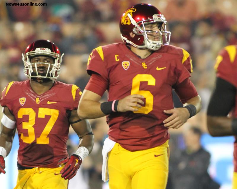 Buck Allen (37) and Cody Kessler (6) provide the Trojans with a 1-2 combo. Photo Credit: Jevone Moore/News4usonline.com