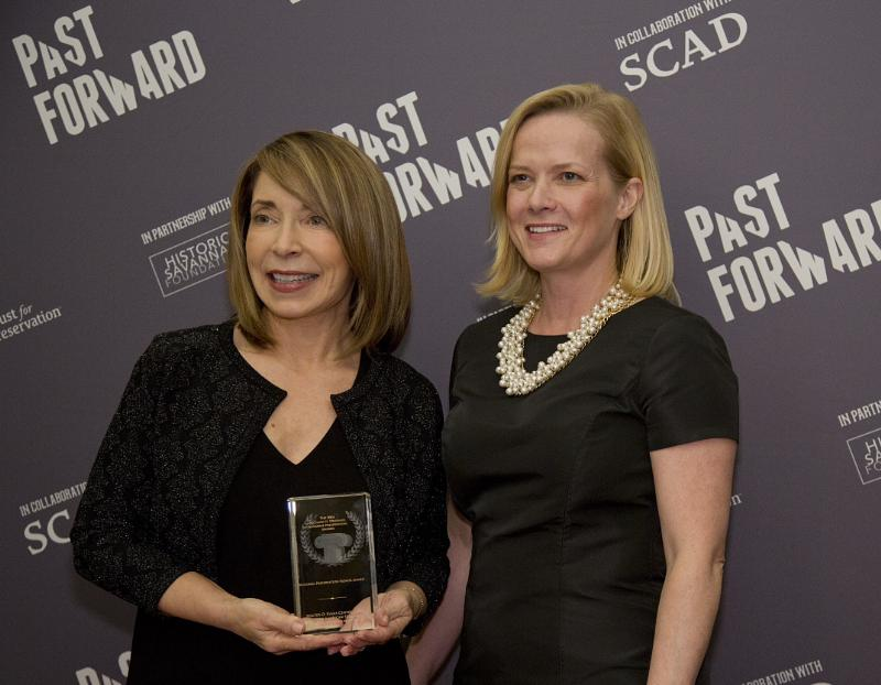 aula Wallace, SCAD president and founder, with Stephanie Meeks, president and chief executive officer National Trust for Historic Preservation, at the 2014 Richard H. Driehaus National Preservation Awards in Savannah, Georgia, on November 13, 2014. (PRNewsFoto/Savannah College of Art & Design)